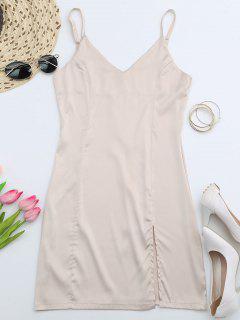 Back Zipper Front Slit Club Dress - Apricot S