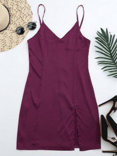 Back Zipper Front Slit Club Dress - Purplish Red L