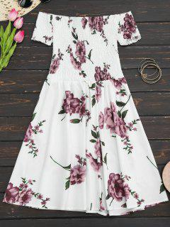 Floral Print Off The Shoulder Sun Dress - White Xl