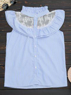Frilled Striped Lace Inset Sleeveless Shirt - Blue M