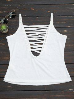 Strappy Front Plunge Camisole Top - White S