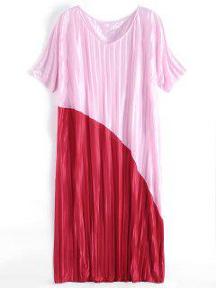 Two Tone Pleated Oversized Maxi Dress - Red And Pink