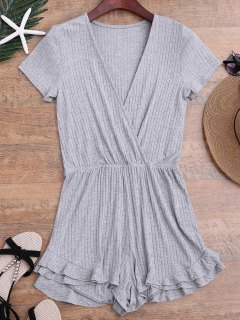 Ruffled Plunging Neck Surplice Romper - Gray M