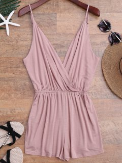 Cami Plunging Neck Surplice Cover Up Romper - Pink L