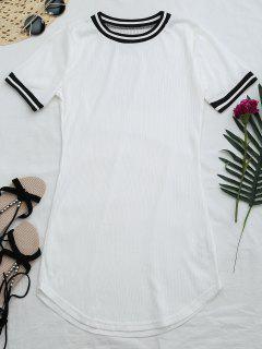 Ribbed Striped Panel Mini Dress - White S