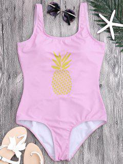 U Neck Backless Pineapple Print Swimsuit - Pink S