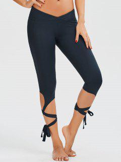 Skinny Wrap Hem Yoga Capri Leggings - Cadetblue M