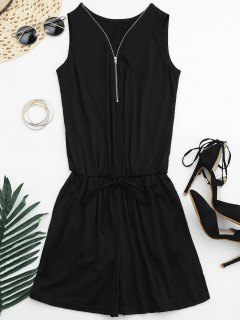 Belted Half Zip Romper - Black Xl