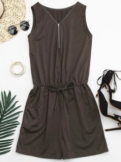 Belted Half Zip Romper - Brown S