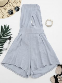 Cut Out Backless Romper - Gray