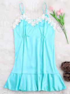 Lace Trim Satin Cami Sleep Dress - Lake Blue S