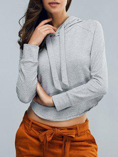 Cropped Hooded Long Sleeve Pullover Hoodie - Light Gray S