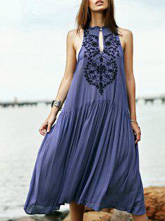 Embroidered Beaded Bohemian Dress - Blue L