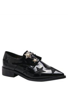 Tie Up Star Pattern Embroidery Flat Shoes - Black 39