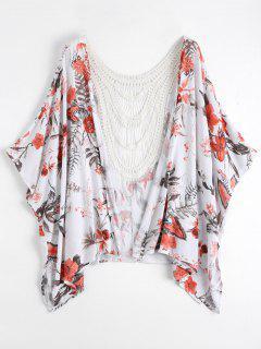 Open Front Crochet Panel Kimono Blouse - Floral