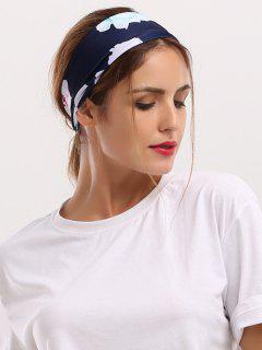 Showy Floral Printed Elastic Wide Headband - Cadetblue