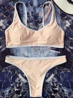 Contrast Piping Padded Bralette Bikini Set - Yellowish Pink L