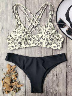 Padded Strappy Bralette Bikini Set - Beige M