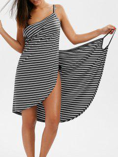 Striped Open Back Multiway Wrap Cover-ups Dress - Gray M