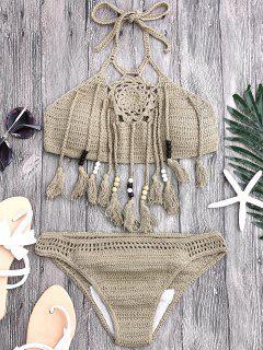 Quasten Perlen Häkeln Bikini - Khaki S