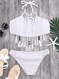Tassels Beaded Crochet Bikini - White S