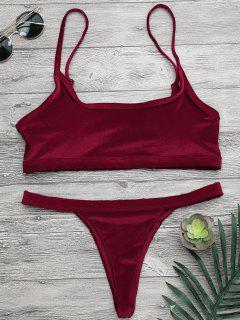 V String Thong Bralette Bikini Set - Burgundy L