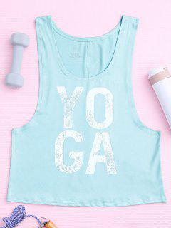 Yoga Dropped Armhole Sports Tank Top - Photo Cyan L