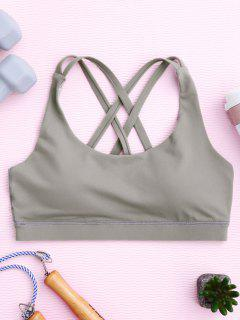 Strappy Crossover Sports Bra - Gray L