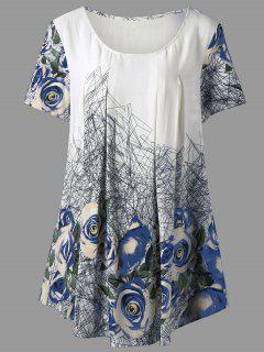 Haut Tunique Imprimé Rose 3D Grande Taille - Bleu Xl