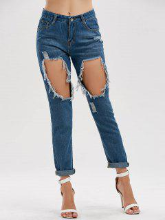 High Waist Hole Distressed Jeans - Blue Xl