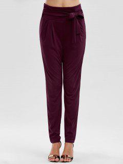 Tie Waist Skinny Pants - Dark Red S