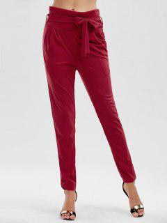 Tie Waist Skinny Pants - Red S
