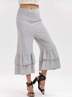 High Waist Layered Capri Palazzo Pants - Gray L