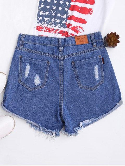 Shorts en denim à ourlet ondulé haute taille - Bleu M Mobile