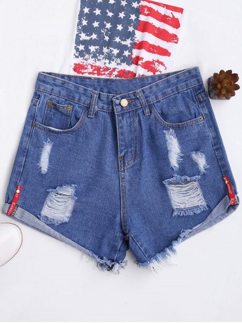 fancy High Waisted Curled Hem Ripped Denim Shorts - BLUE L Mobile