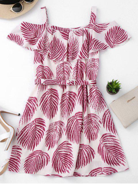 fancy Tropical Cold Shoulder A-Line Dress - COLORMIX M Mobile