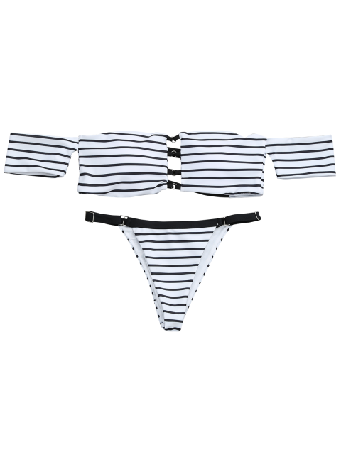 buy V String Off The Shoulder Bikini Set - WHITE AND BLACK S Mobile