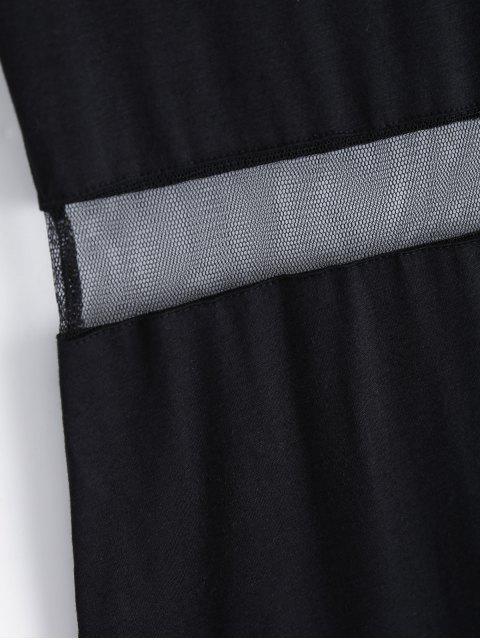 best Mesh Panel Side Split Long Dress - BLACK XL Mobile