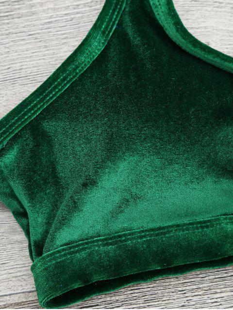 unique V String Thong Bralette Bikini Set - GREEN M Mobile