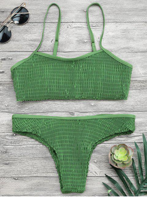 fancy Cami Smocked Bralette Bikini Set - GREEN S Mobile