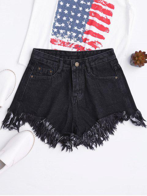 latest Wide Leg Frayed Hem Denim Shorts - BLACK L Mobile