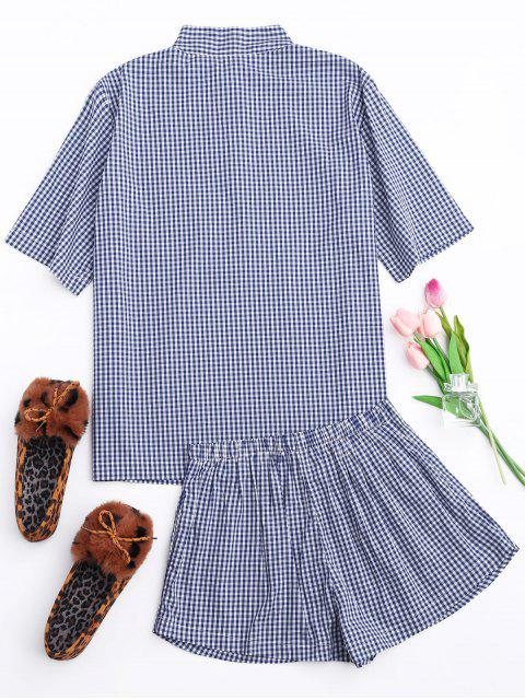outfits Half Button Checked Shirt with Short Loungewear - PLAID L Mobile