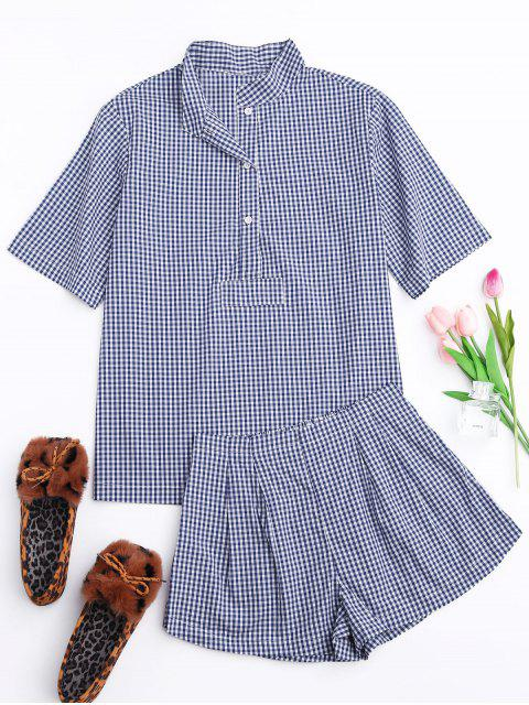 shop Half Button Checked Shirt with Short Loungewear - PLAID M Mobile
