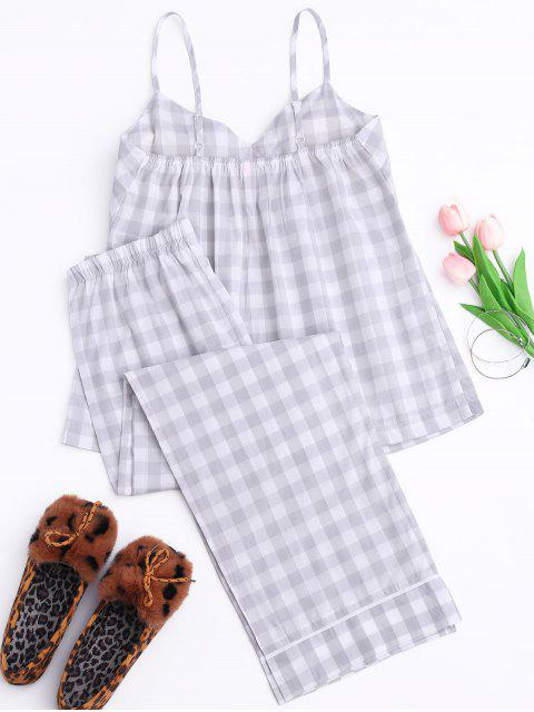 fancy Padded Checked Cami Top with Pants Loungewear - GRAY XL Mobile