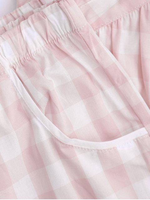 women Padded Checked Cami Top with Pants Loungewear - PINK M Mobile