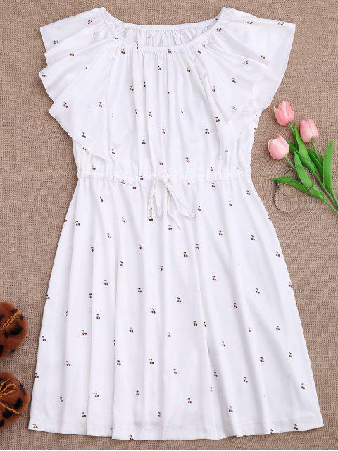 best Drawstring Off Shoulder Cherry Loungewear Dress - WHITE M Mobile