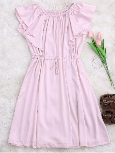 outfits Satin Off Shoulder Drawstring Sleep Dress - PINK S Mobile