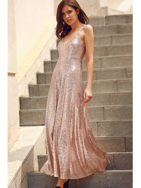 womens Backless Sequins Spaghetti Strap Maxi Dress - PINK 2XL Mobile