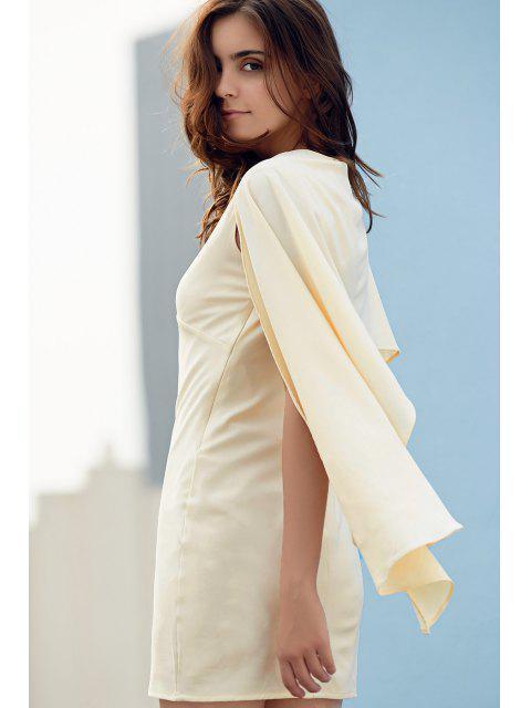 shops Bodycon Plunging Neck Cape Sleeve Mini Dress - OFF-WHITE L Mobile