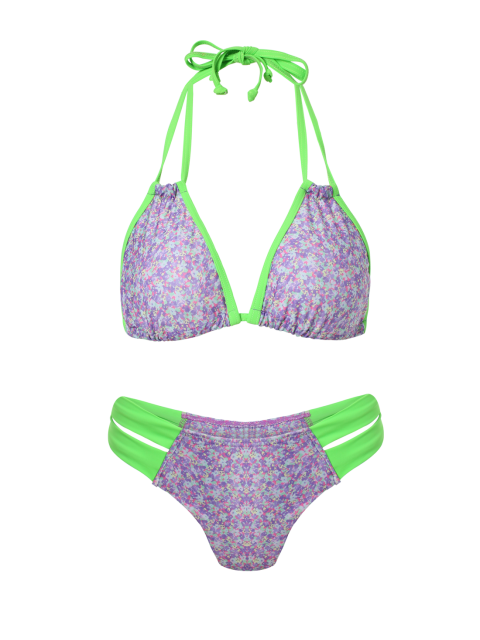hot Purple Print Halter Splice Bikini Set - PURPLE XL Mobile